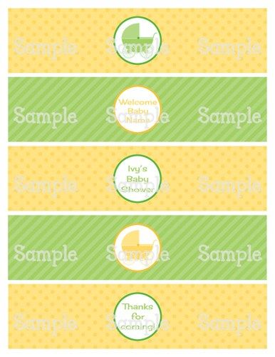 Printable Gender Neutral Carriage Baby Shower Water Bottle Labels