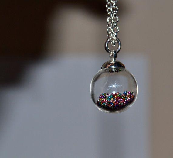 Glass Ball Necklace Orb Pendant Glass Globe Round Bottle Etsy Pendant Bottle Jewelry Ball Necklace