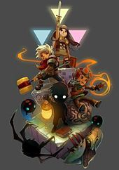 Promotional art for the Humble Indie Bundle V, done in a Bastion style.