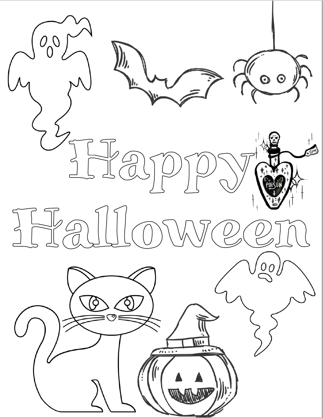 Halloween Cat Coloring Pages - GetColoringPages.com | 1342x1036