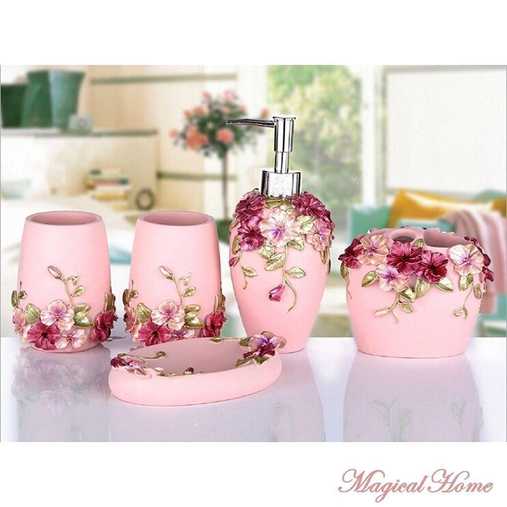 Details about 5 Bathroom Accessory Set Luxury Rose Soap Dispenser