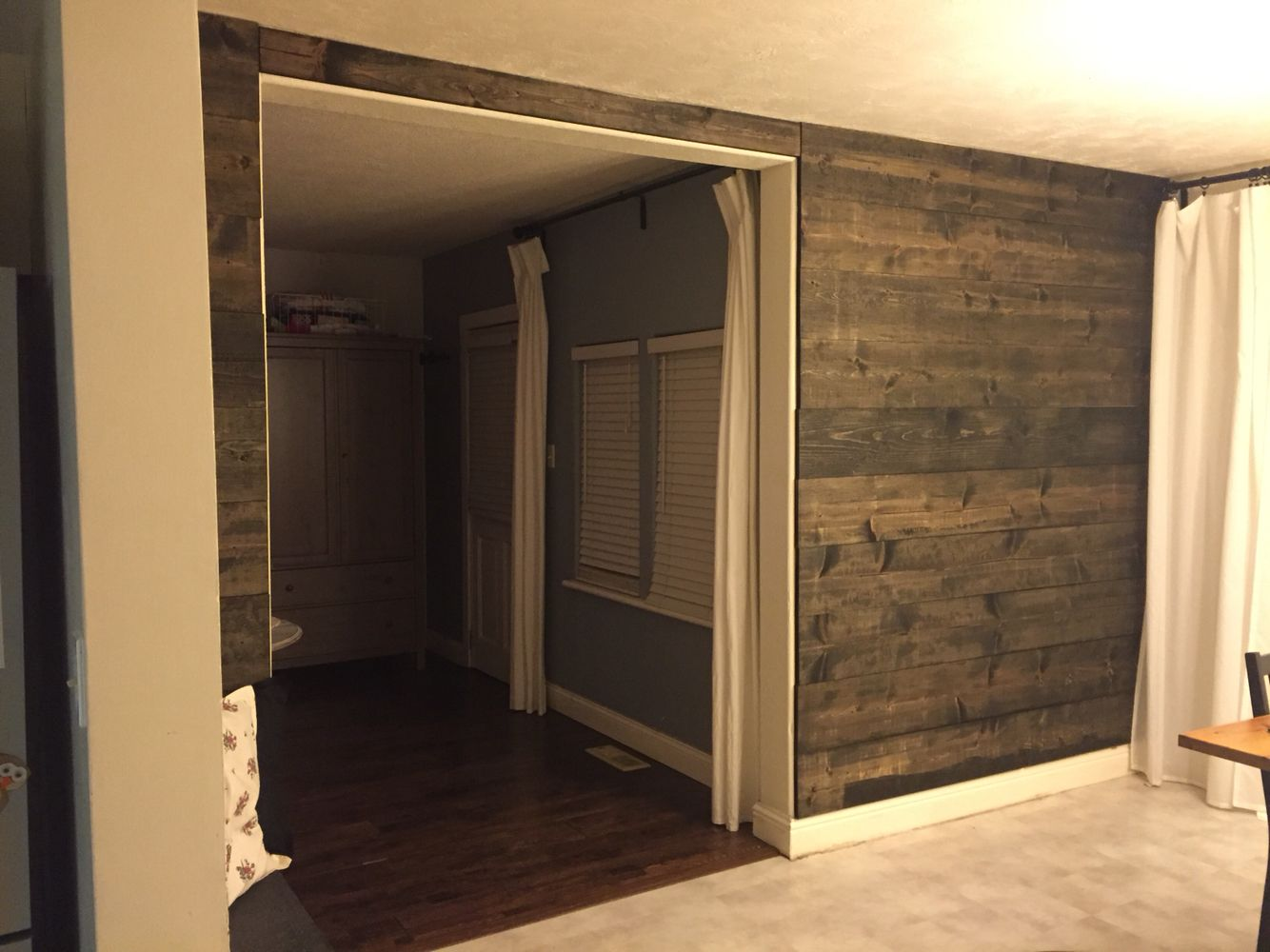 Ebony Stain Wood Wall Mock Shiplap Design Made With Raw