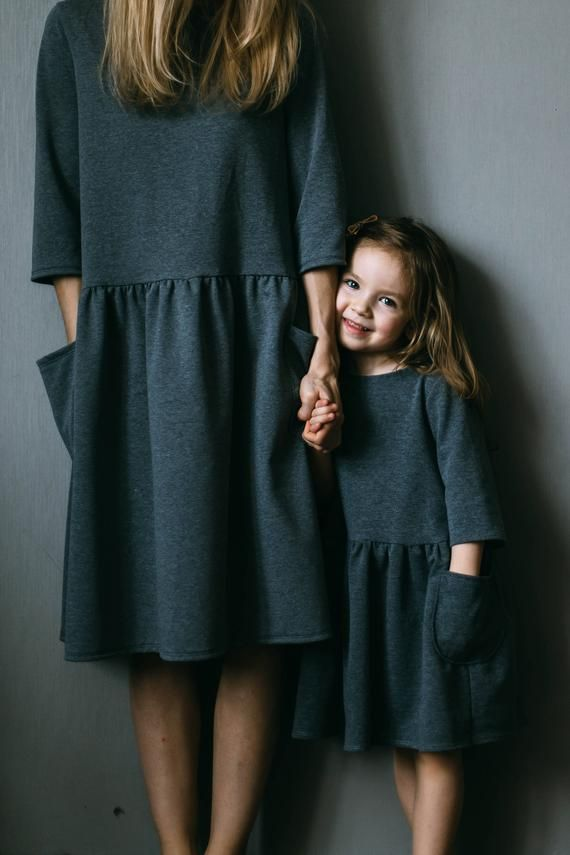 Mother daughter matching dress mother and daughter matching outfit mini me girl jersey dress girl oversized dress with pockets