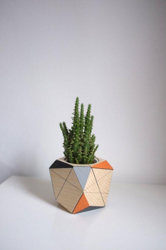 Terrazzo Geometric Planter Minimalistic Storage Pot Wooden