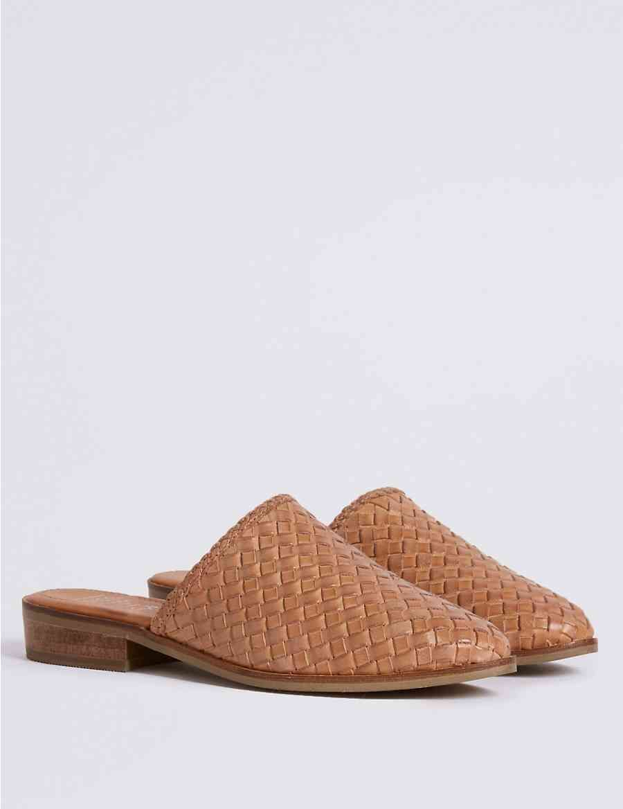 494d270b7959 Leather Block Heel Weave Mule Shoe