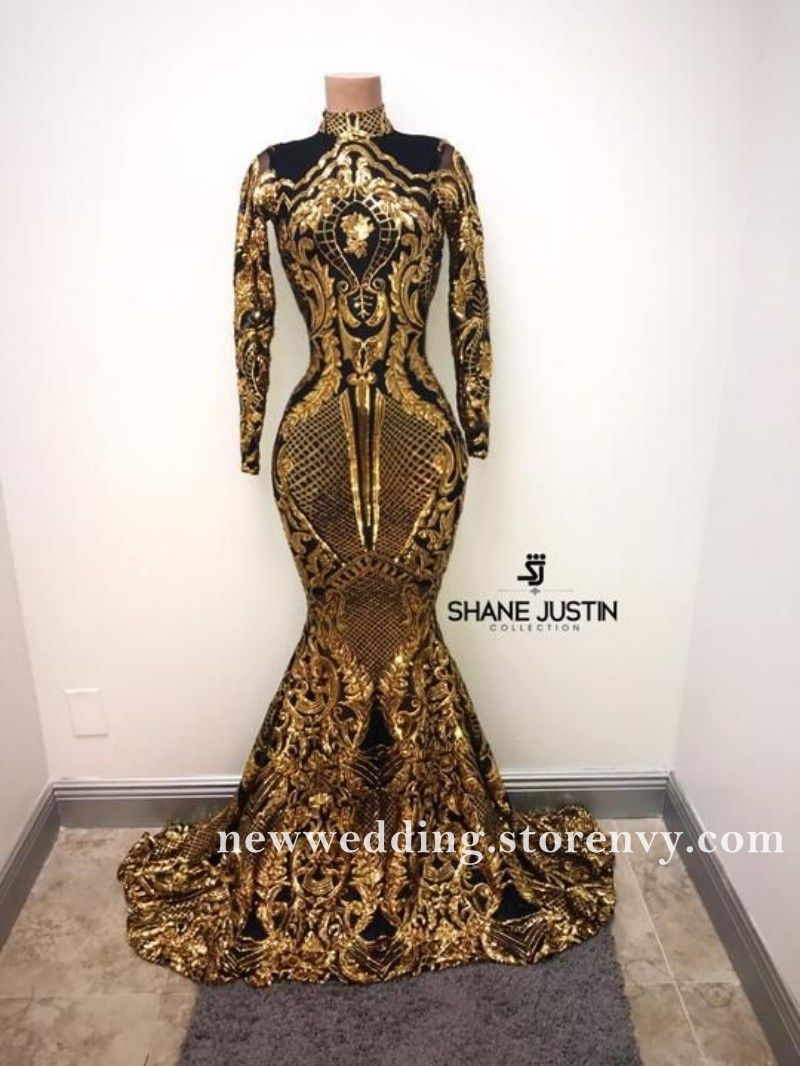 High Neck Long Sleeve Black Girl Prom Dresses 2019 Gold Sequined Mermaid Prom Party Dress Long Prom Girl Dresses Black Girl Prom Dresses Evening Gowns Formal [ 1066 x 800 Pixel ]