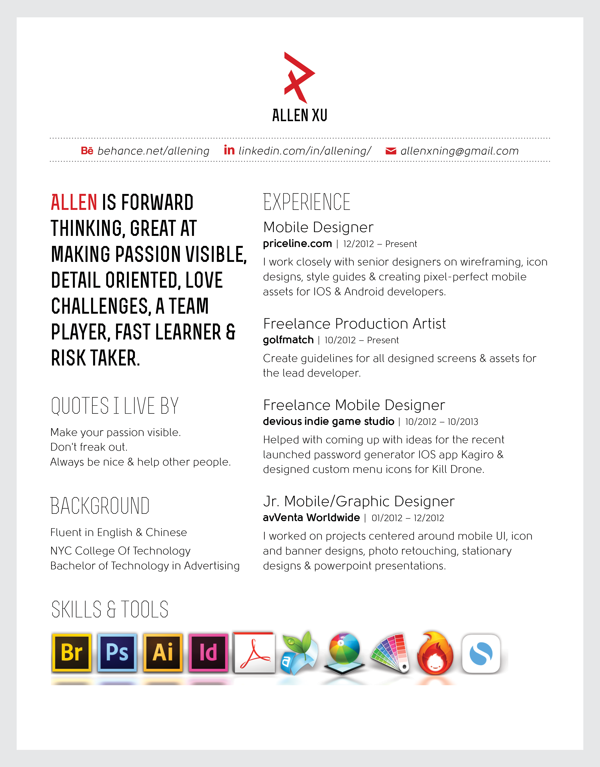 Personal Logo Resume By Allen Xu Via Behance Ultimate Resume