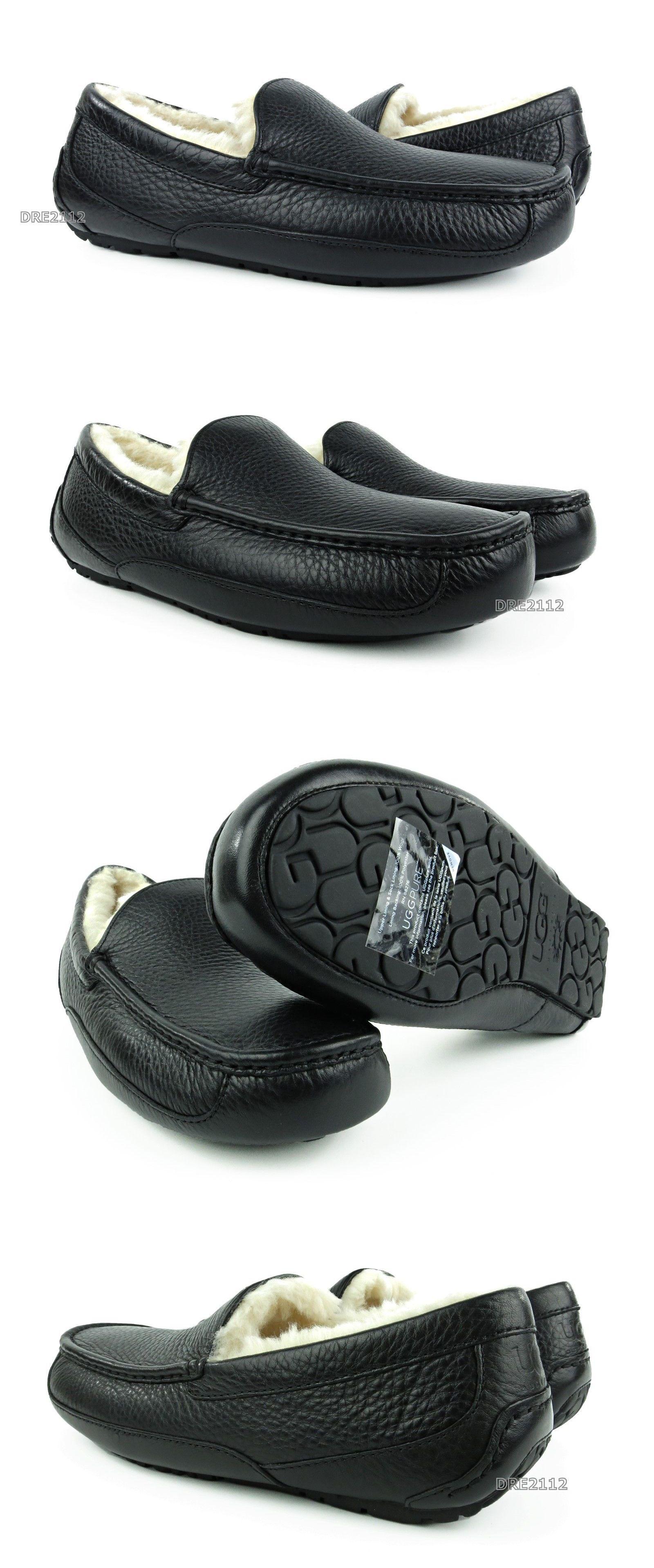 4b2fe347b76 Slippers 11505: Ugg Australia Ascot Black Leather Fur Slippers Mens ...