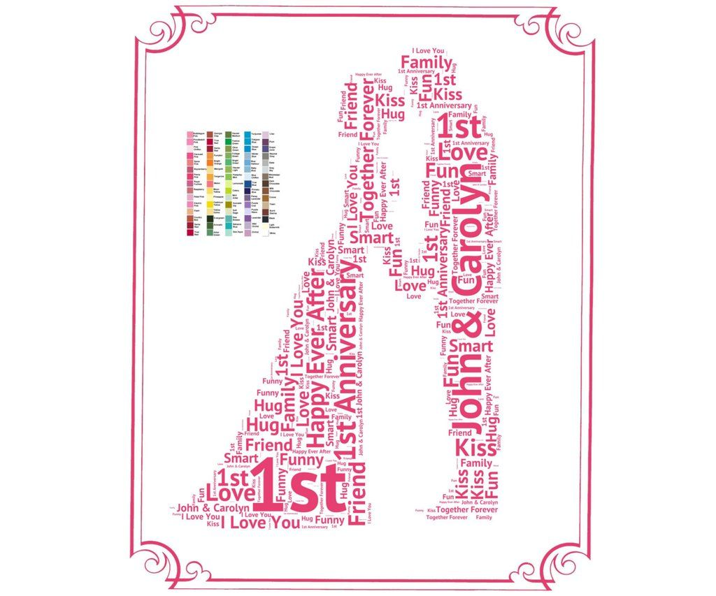 personalized 1st anniversary gift 1st anniversary gift ideas first anniversary word art 8 x