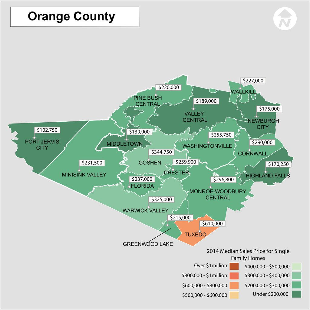 Map Of Orange County Ny Orange County New York Real Estate Price Map. Heat map showing