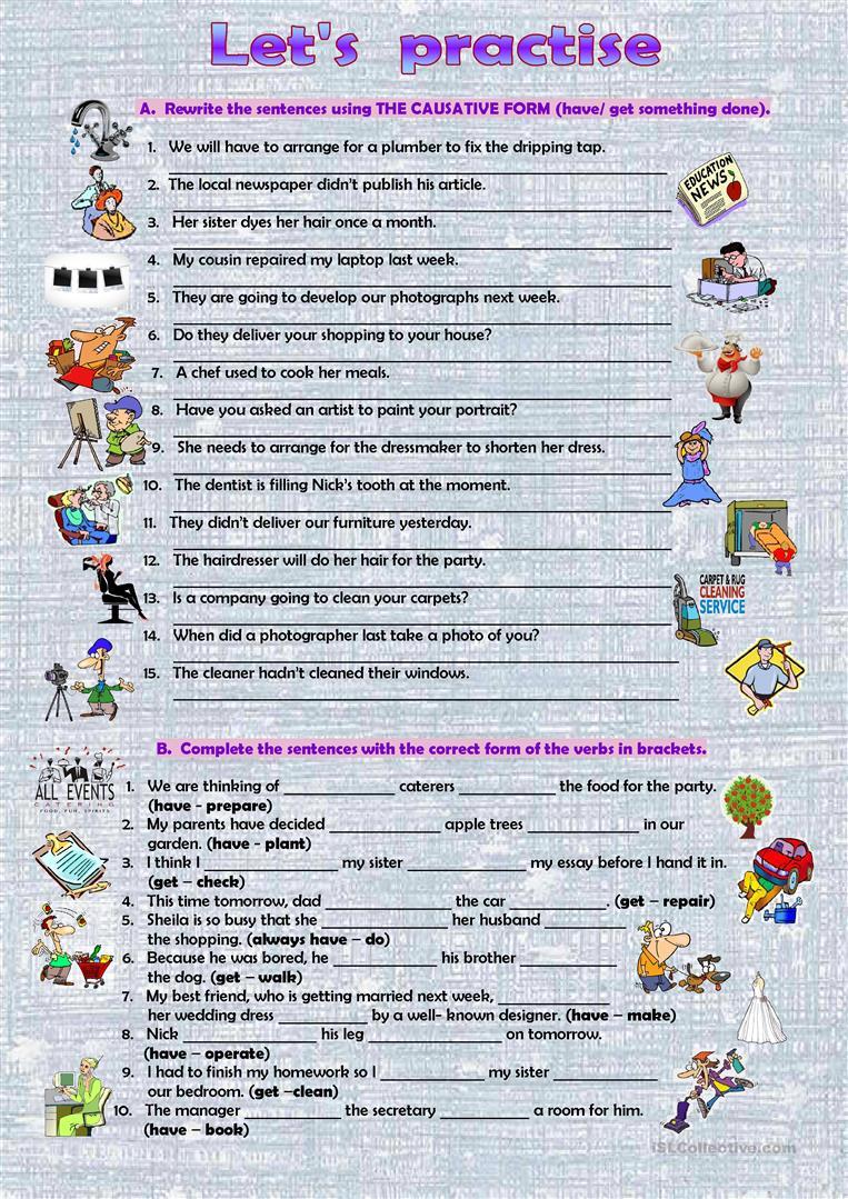 The Causative Worksheet Free Esl Printable Worksheets Made By Teachers Teaching English Grammar Kids English Grammar [ 1079 x 763 Pixel ]