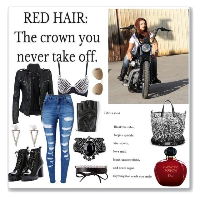 """""""Red hair biker"""" by krystalkm-7 ❤ liked on Polyvore featuring Christian Dior, Torrid, MuuBaa, Fallon, WithChic, Ileana Makri and Ray-Ban"""