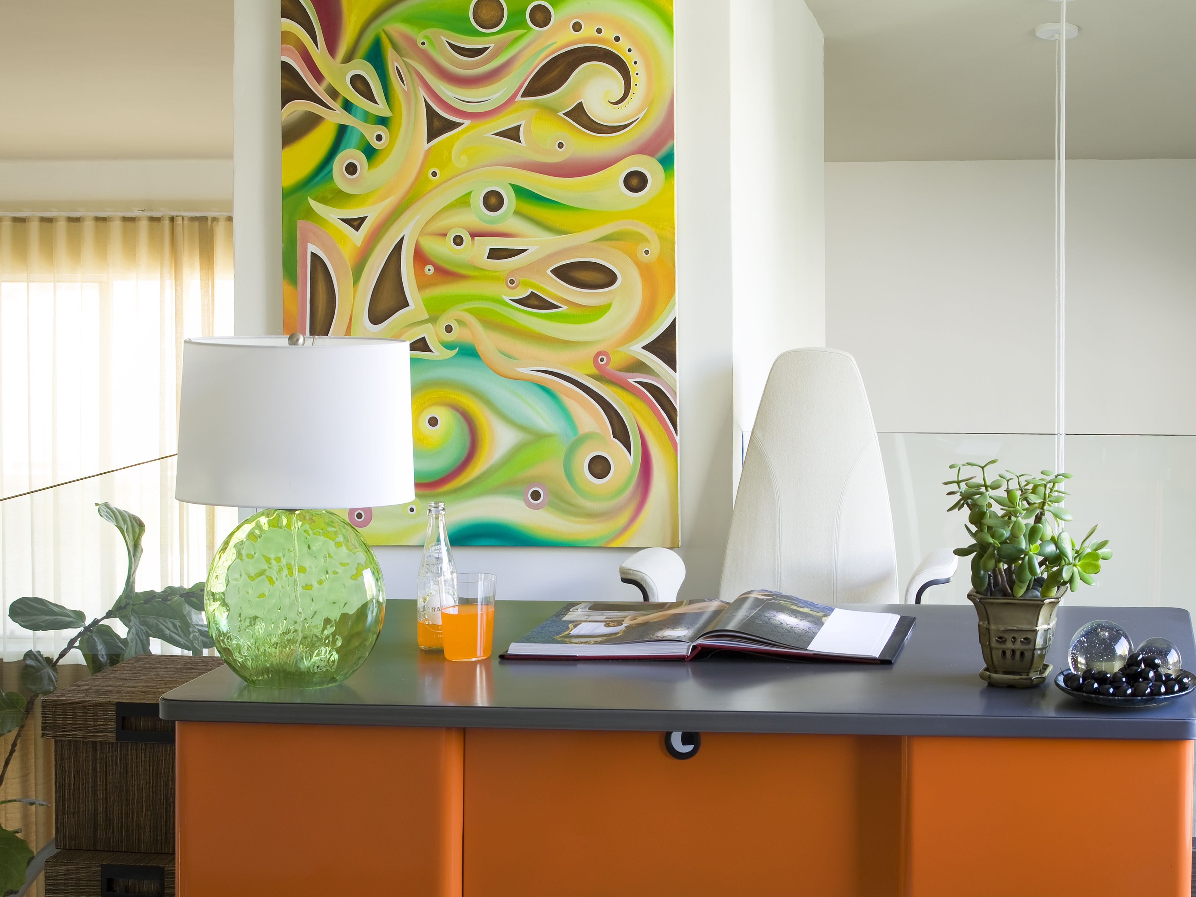 Pretty Canvas Portray Added White Wall Painted And Modern Orange Hardwood Office Desk With Shade Lamps As Decor Ideas