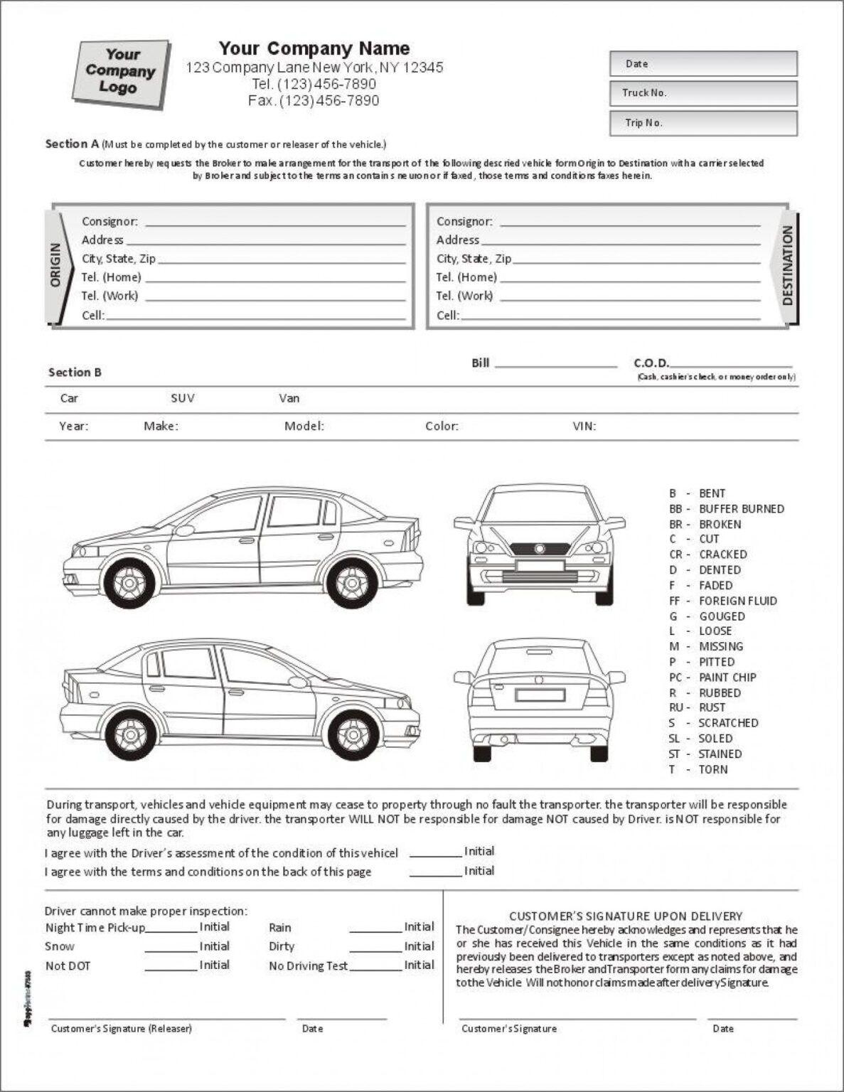 E8fc7 Vehicle Damage Report Template