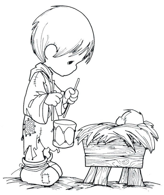 Christmas Drummer Boy And Manger Fun Coloring Pages With A Drum Precious Moments