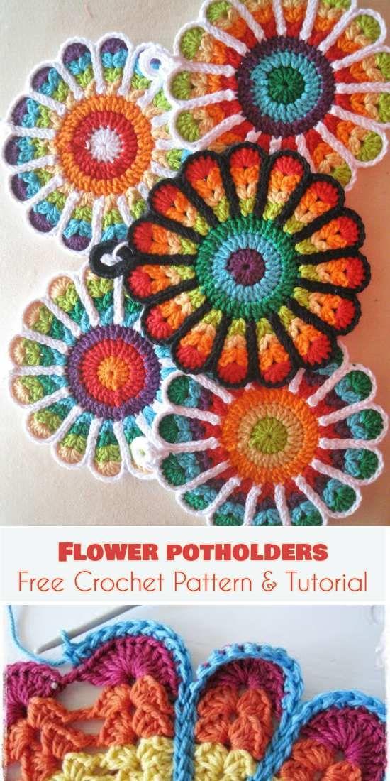 Flower Potholders Coasters [Free Crochet Pattern and Tutorial] #crochetpotholderpatterns