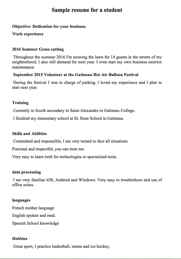 resume examples for sixteen year olds