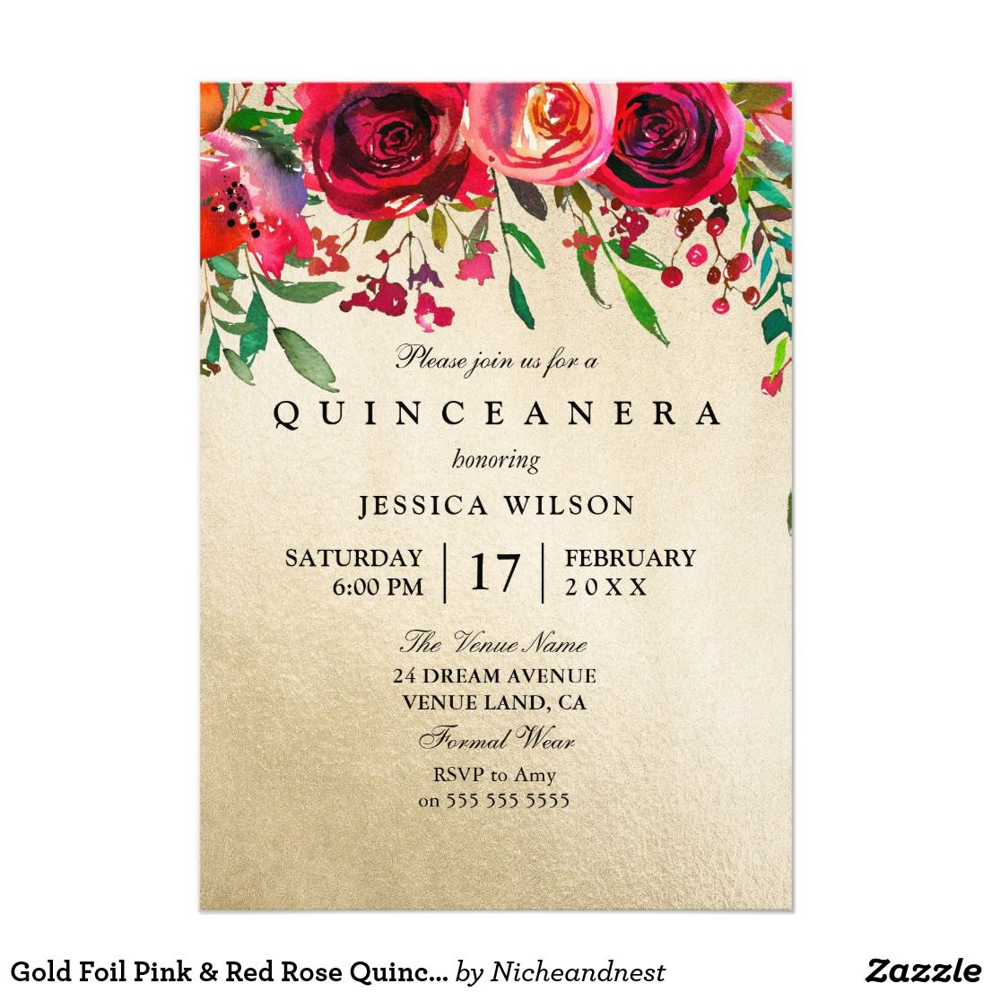 Gold Foil Pink & Red Rose Quinceanera Invitation in 2018 | On Zazzle ...