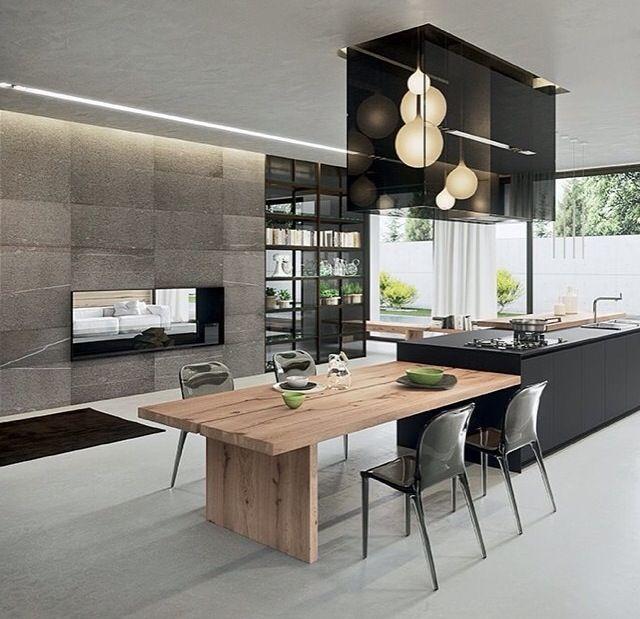Black kitchen bench | Kitchens | Pinterest | Haus projekte, Moderne ...