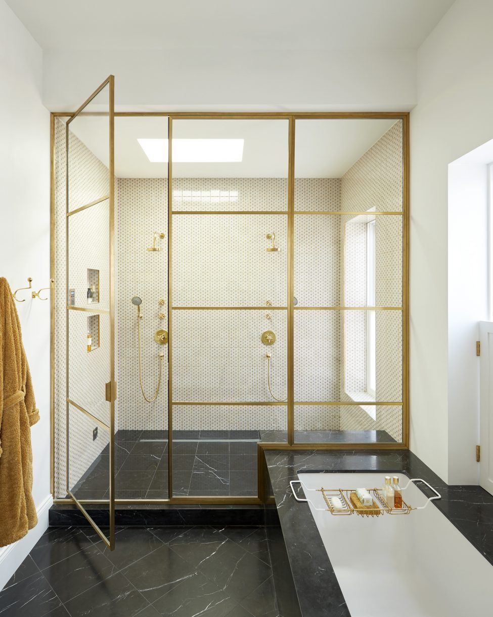 Brass Shower Enclosure Custom Metal Shower Doors High End Luxe