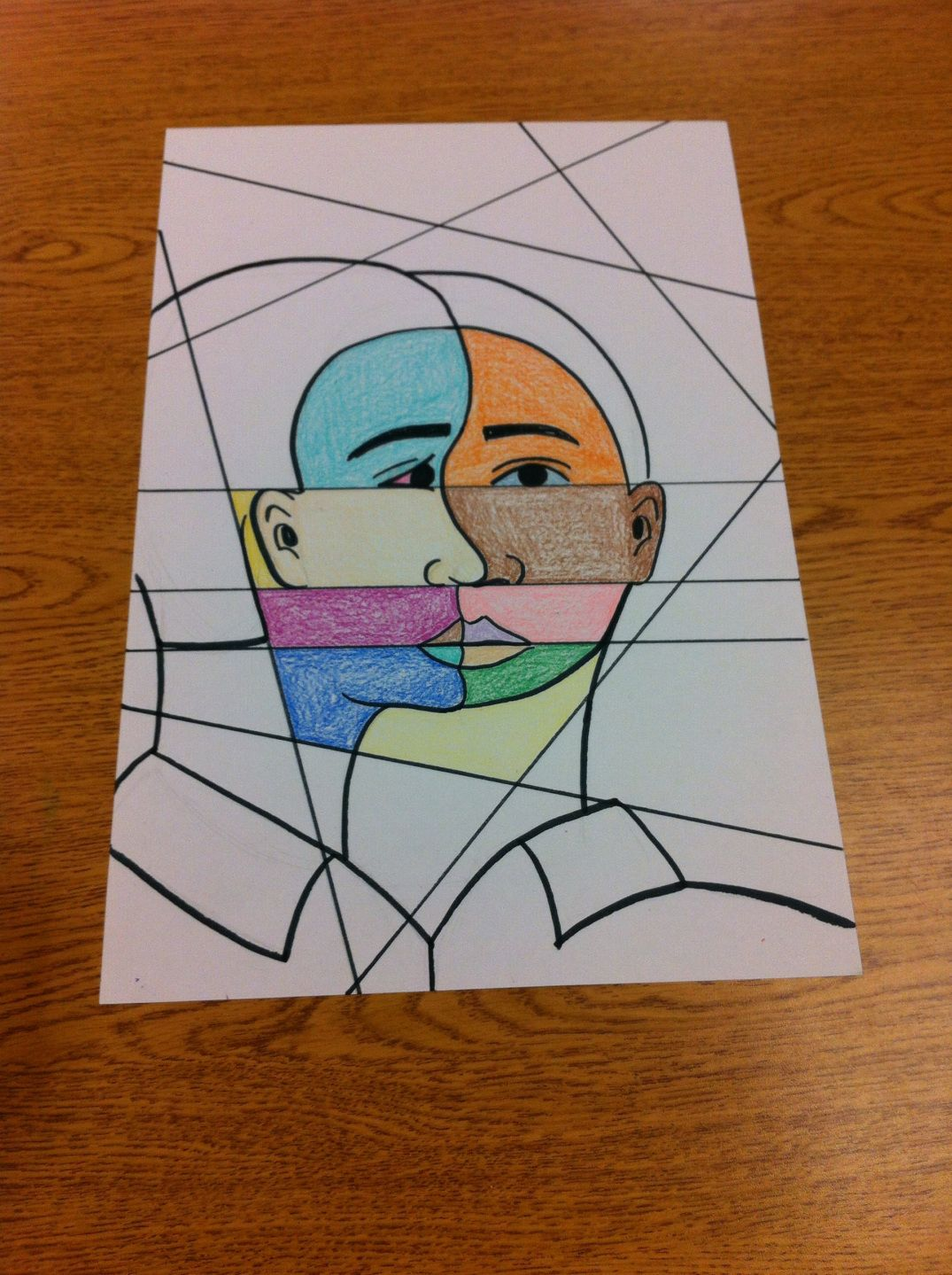 4th Grade Picasso Inspired Cubist Abstract Self Portraits