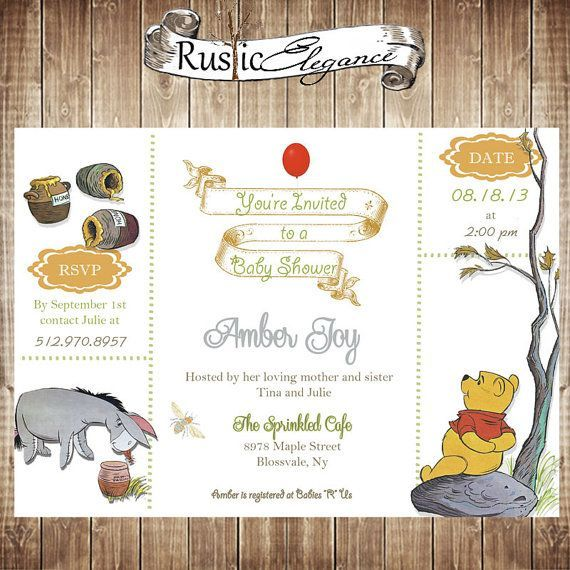 Classic Pooh Baby Shower Invitations | Winnie The Pooh Baby Shower  Invitation By RusticElegance18 On Etsy