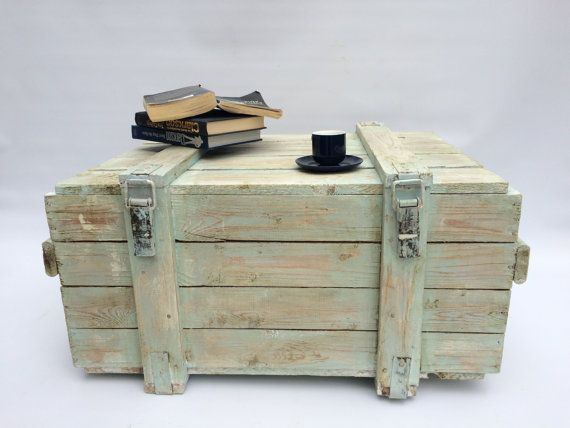 Wooden Trunk Chest Coffee Table Ottoman Storage Box TV Cabinet ...
