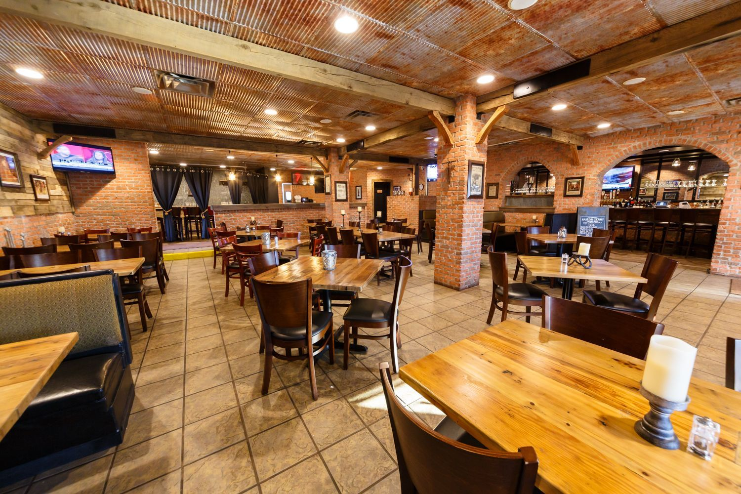 Old Tin Roof Vinyl Ceiling Tile From Our Legacy Series Featured At The Blacksmith Bar Grill It S Rus Finishing Basement Basement Renovations Basement Layout