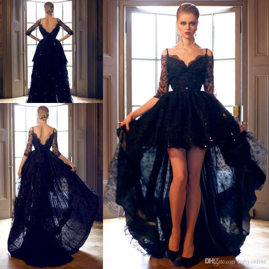 Aline offtheshoulder high low navy blue lace promhomecoming