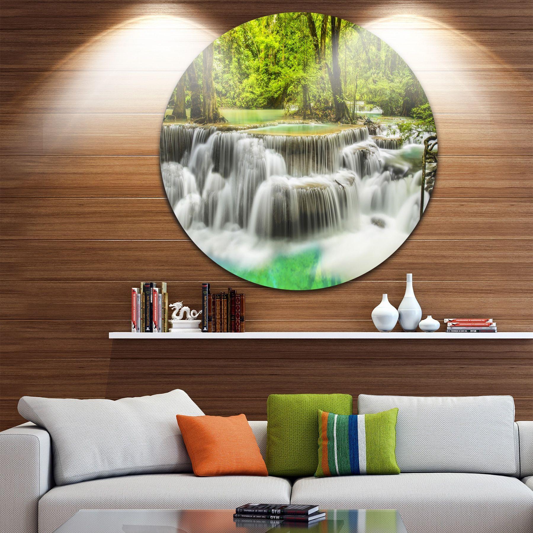 Designart uerawan waterfall viewu photography disc metal wall art