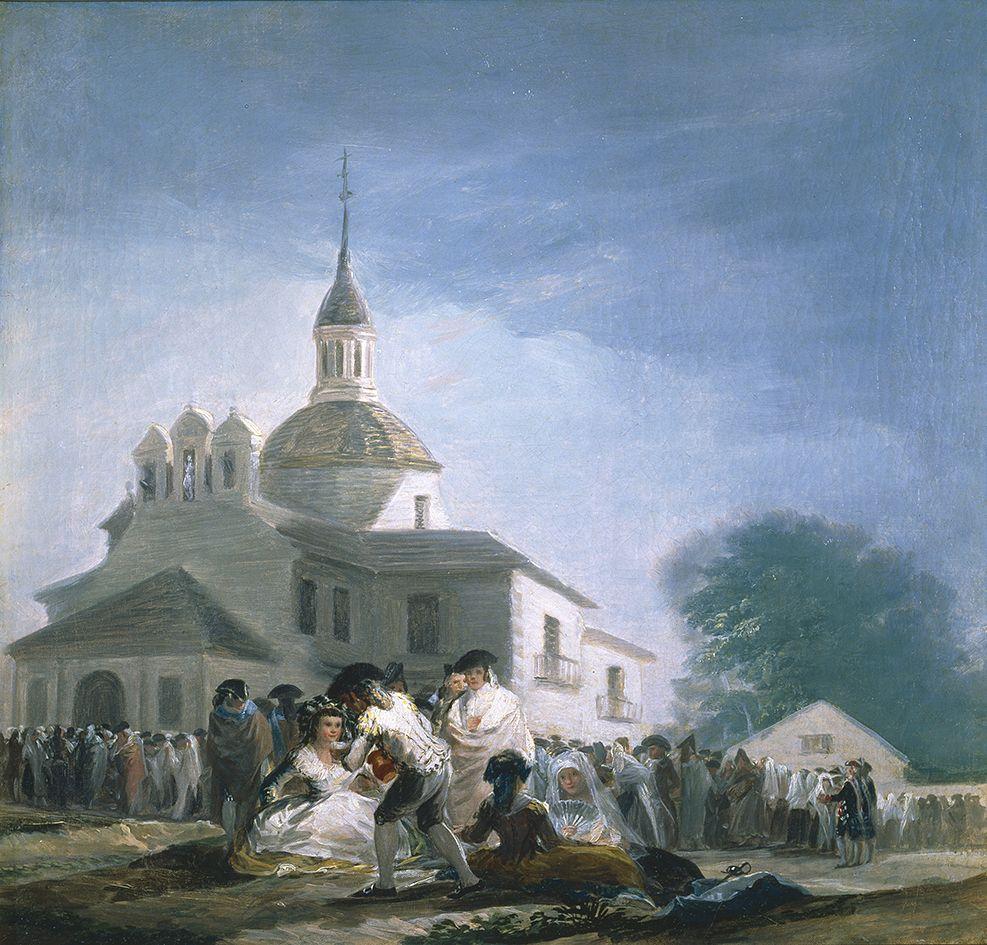 """Francisco De Goya """"la Ermita San Isidro El La Fiesta . Oil Canvas 41 8 X 43 Cm"""