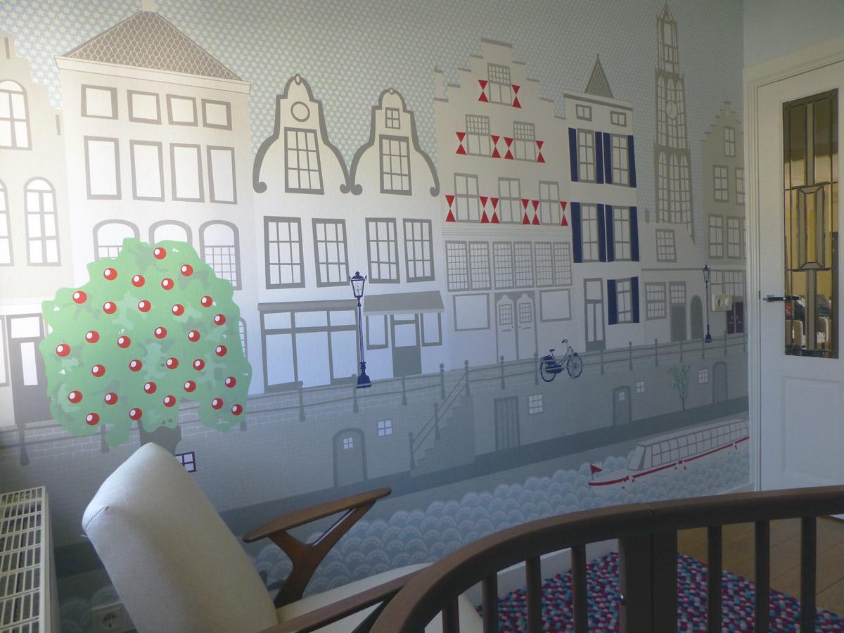 Behang Babykamer Utrecht : Behang utrecht met dom en oude gracht in babykamer peuterkamer
