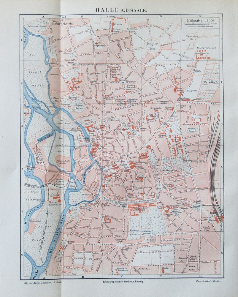 1895 SACHSEN SAALE historischer Stadtplan Karte Antique City Map Lithographie