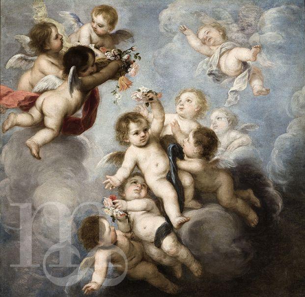 Gloria de ángeles, por Juan Simón Gutiérrez. Segunda mitad del siglo XVII.  Puedes ver esta obra en la Sala XI