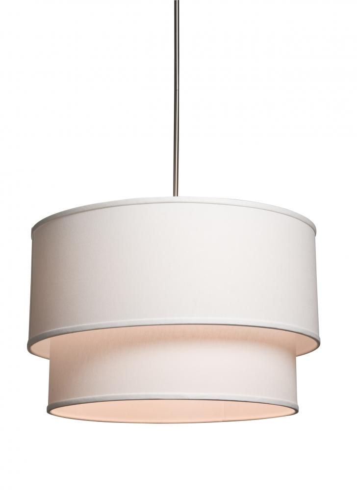 Three Light Double White Linen Shade Drum Pendant 4wkd6 Hagens Lighting