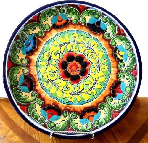Details About Talavera Blue White Pottery Plate Decorative
