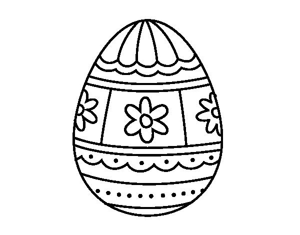Dibujo de huevo de pascua con decoraciones para colorear for Decoracion de pascua