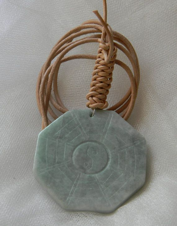 Celadon jade pendant on leather cord necklace large octagon celadon jade pendant on leather cord necklace large octagon carved jade charm yin yang i ching carvings unusual shape jade pendant aloadofball Images