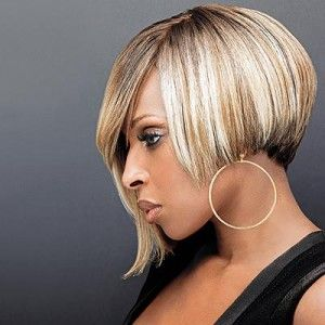 Mary J Blige Blonde Asymmetric Bob Hairstyle Casual To