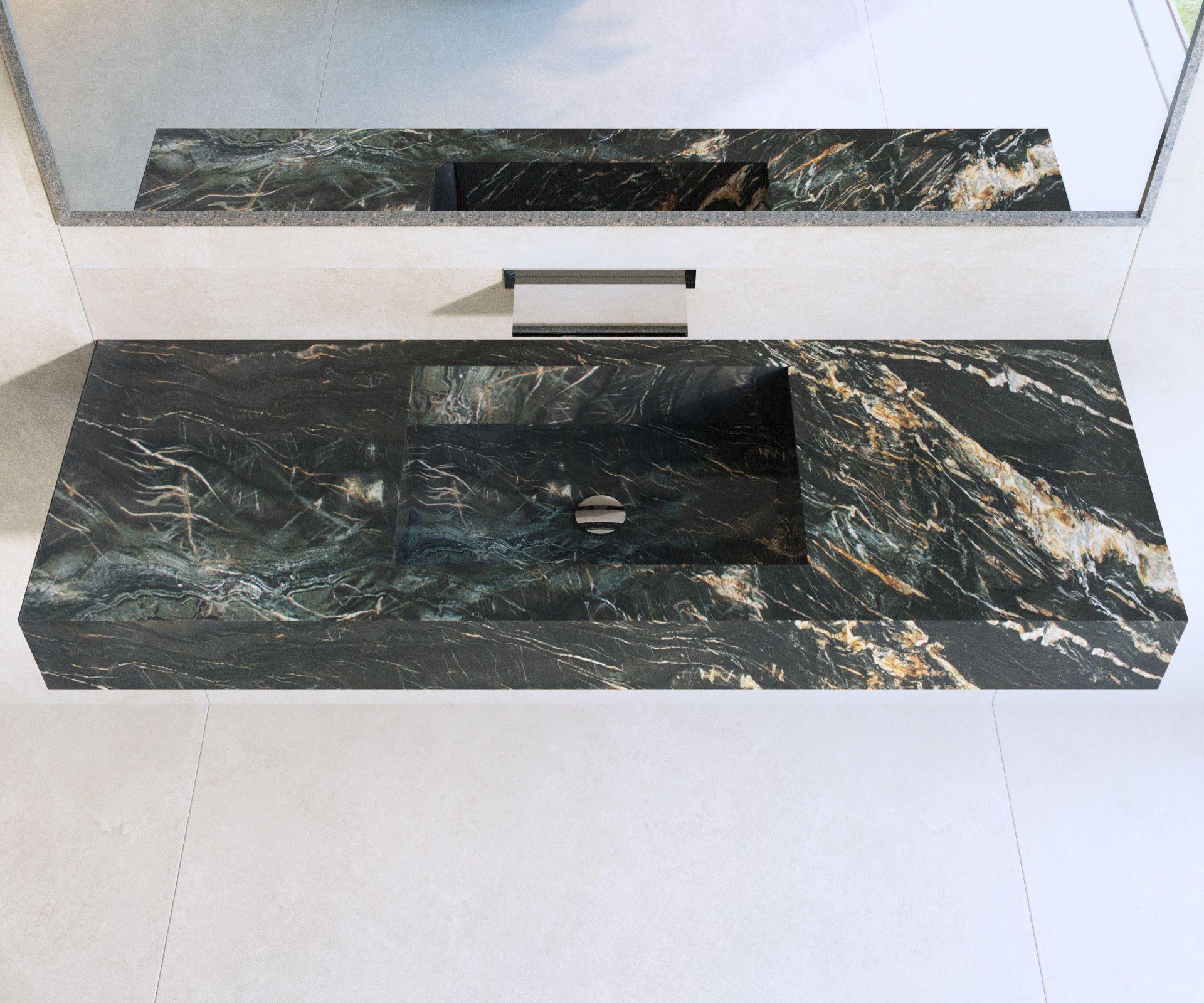Salle de bain - Plan vasque en Granit Belvédère - Décoration