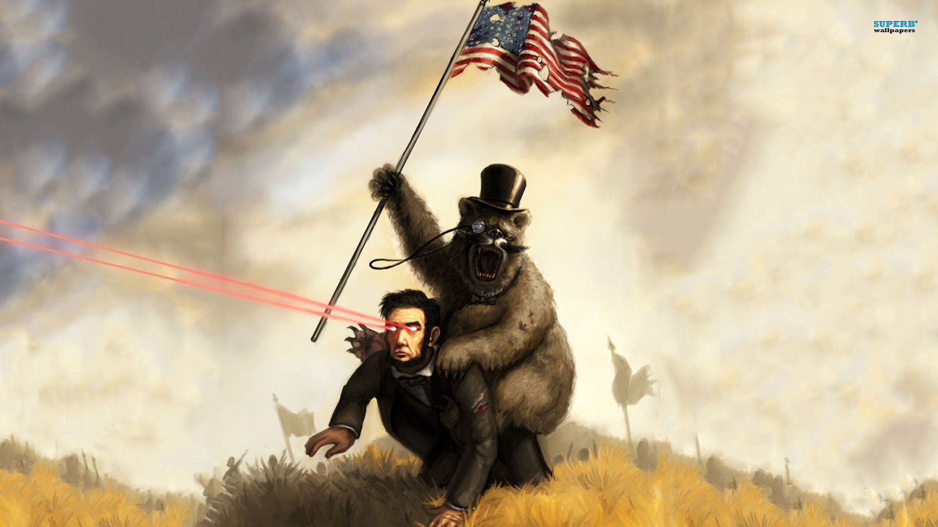 Bear Riding Abraham Lincoln With Laser Eyes Bear Wallpaper Fan