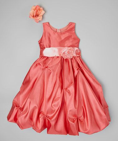 Another great find on #zulily! Coral Peach Flower Dress - Toddler & Girls #zulilyfinds