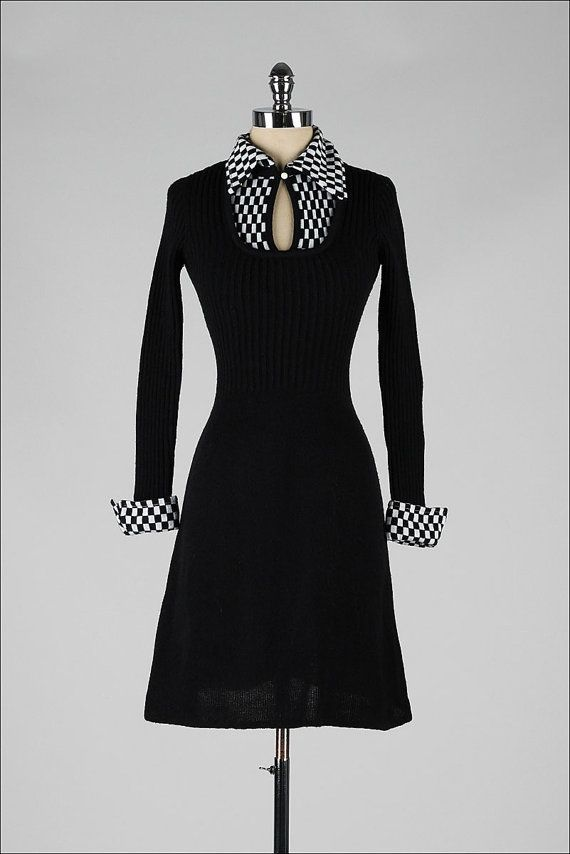 Vintage 1970s Dress Black White Sweater Knit Checkboard Print 3961 Fashion Vintage Fashion 1970s Dresses
