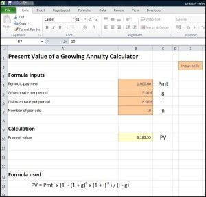 A present value of a growing annuity calculator works out the PV ...