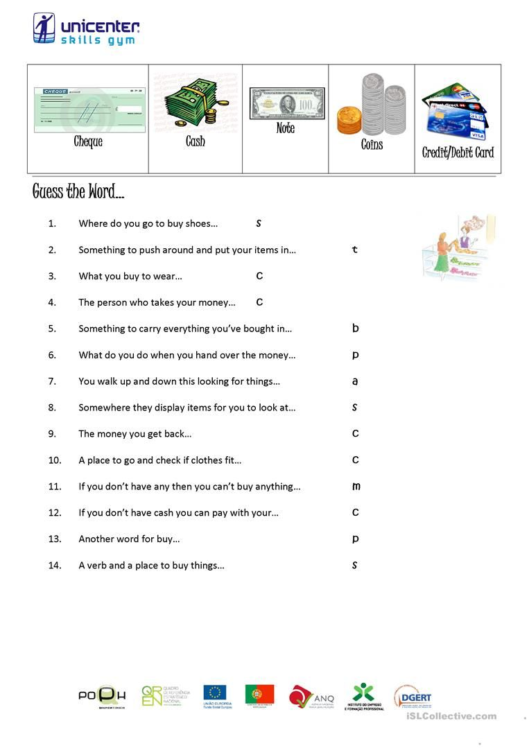 Shopping Vocabulary Worksheet Free Esl Printable Worksheets Made By Teachers Vocabulary Vocabulary Worksheets Guess The Word