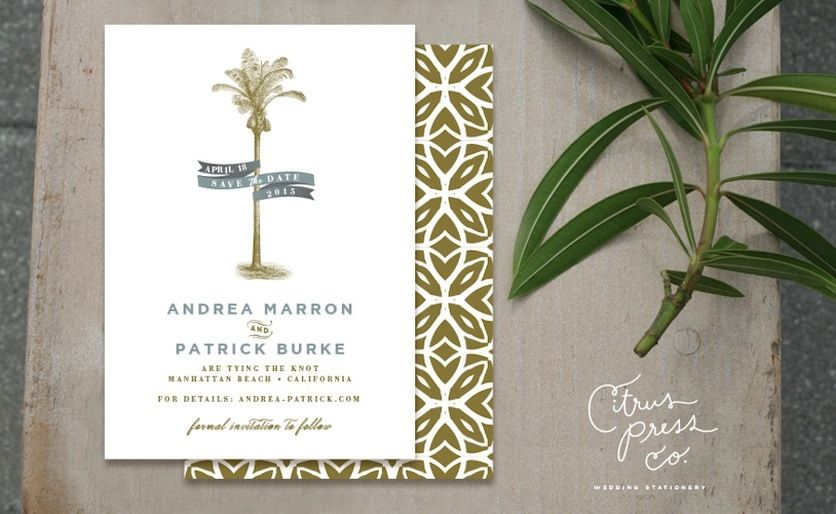 Tropical Florida Beach Inspired Wedding Invitations Citrus Press Co Tampa Fl