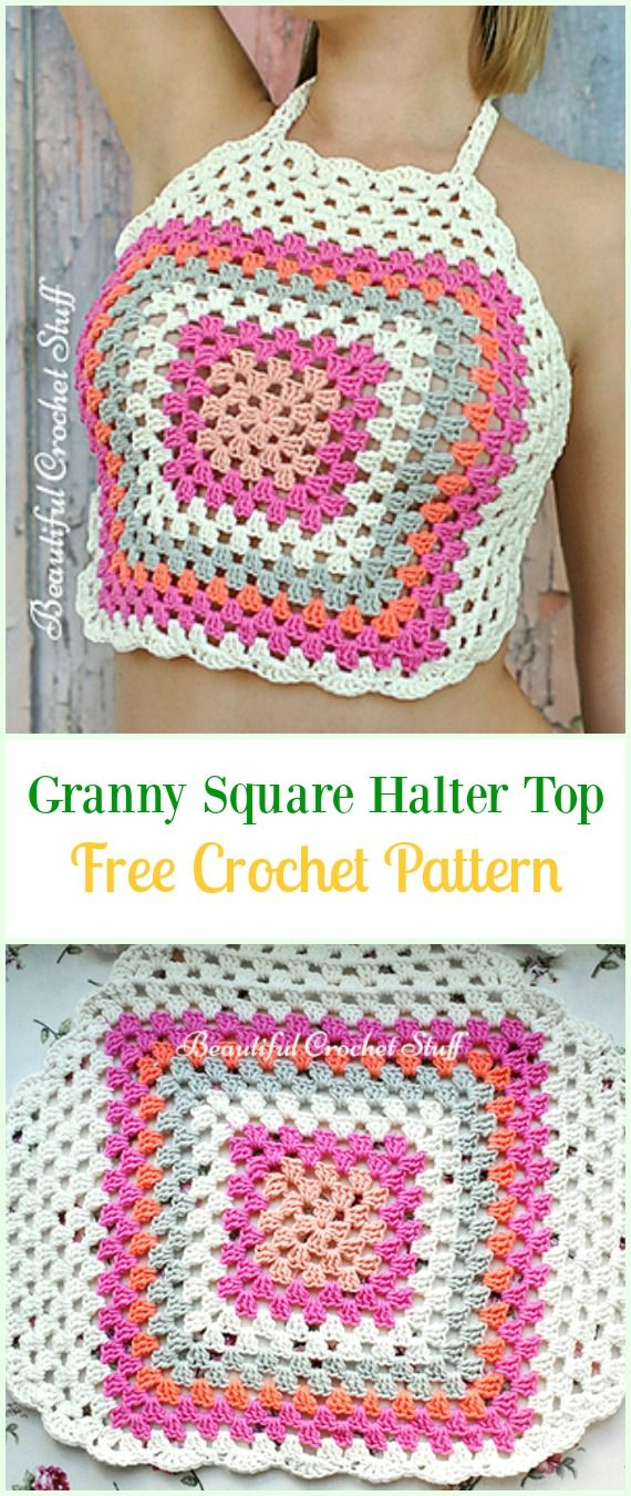 Crochet Granny Square Halter Top Free Pattern Video Crochet Summer