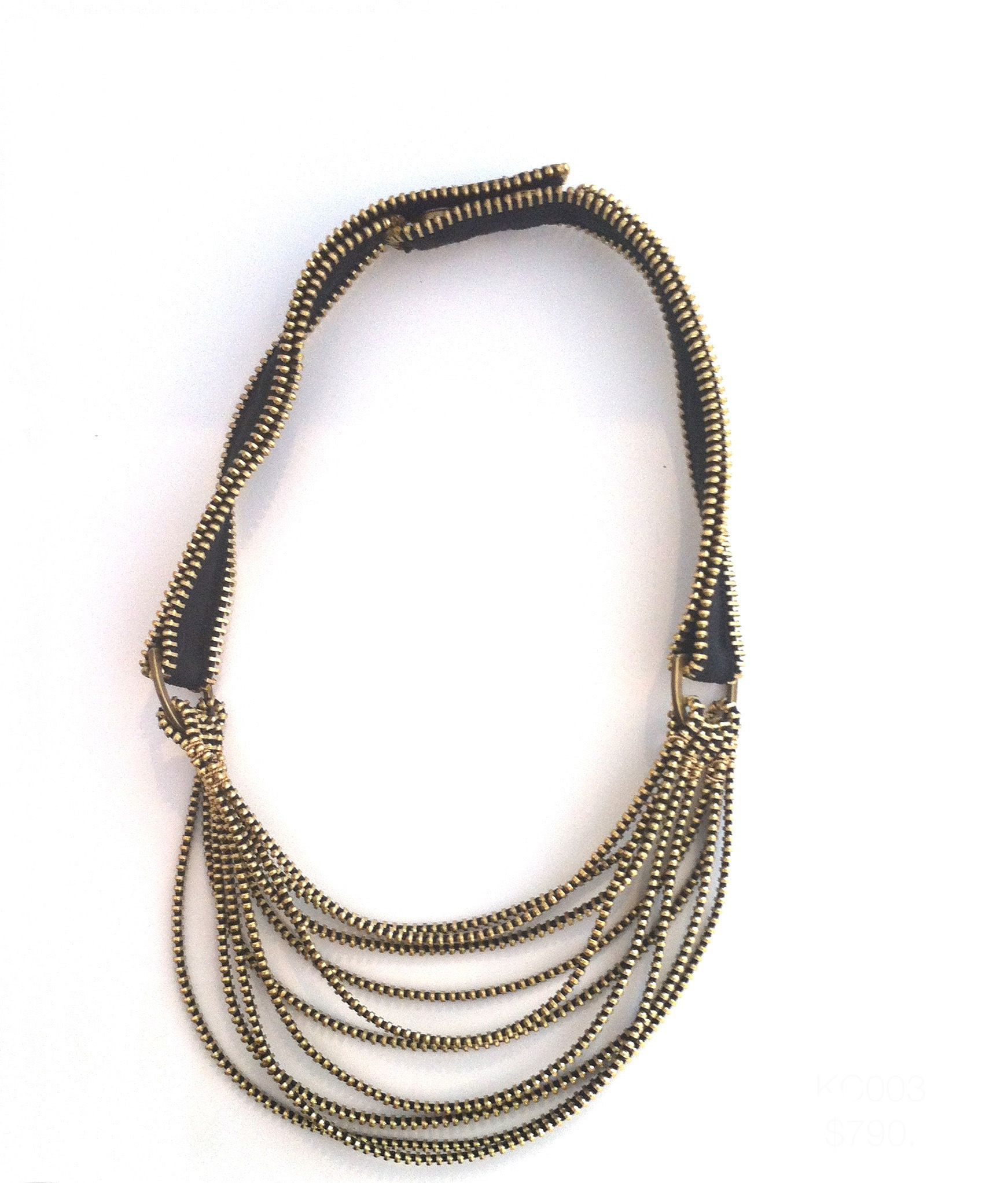 Introducing our newest artist at Gallery Lulo, Kate Cusack! Tress VII necklace, made from black and brass zippers. Kate Cusack for Gallery Lulo.