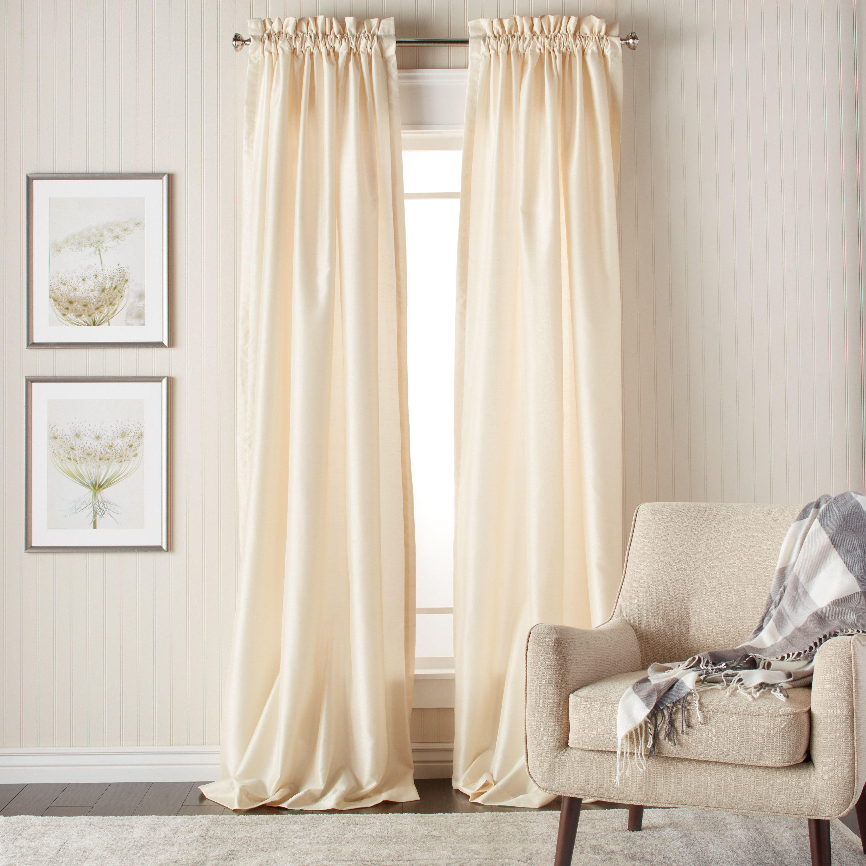 Heritage Landing 96 Inch Faux Silk Lined Curtain Pair Ivory