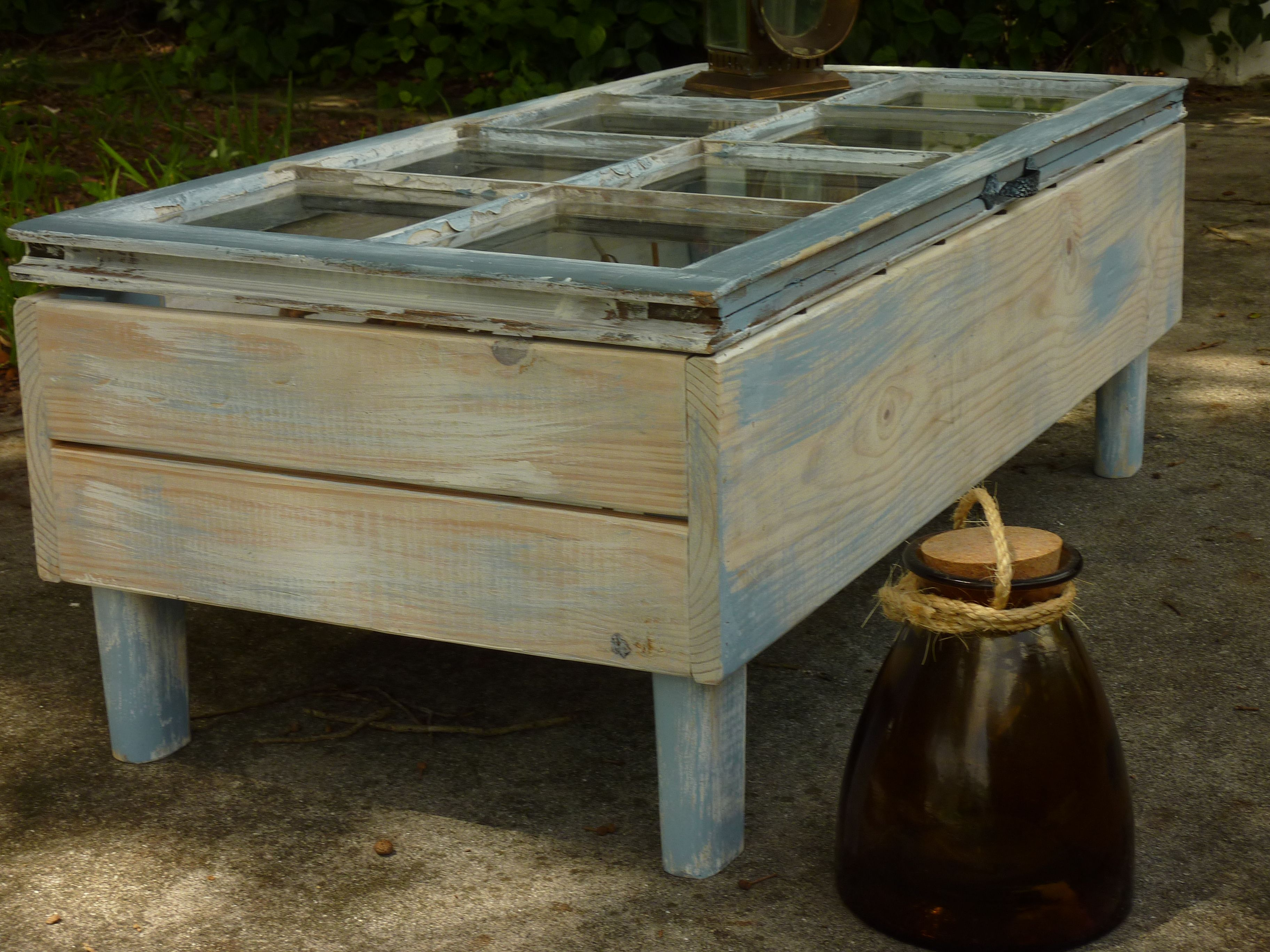 Beach Style Coffee Table With Old Window Top Lid